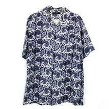 Daniel Cremieux Mens Shirt Silk Linen Paisley Blue White Button Front Sz M  - $28.65