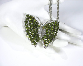 Butterfly Pendant Necklace, Green Rhinestones, Large, Long Chain, Silver... - $20.00