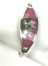 Vintage Bracelet Silver Inlaid Shell Pink Alpaca Mexico Boho Southwest - $19.79