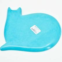 Vaneal Group Hand Carved Kisii Soapstone Light Blue Kitten Cat Trinket Catchall image 2