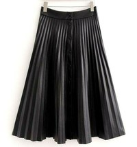 Women Ladies Faux PU Leather High Waist Button Front Flared Pleated Long... - $79.99