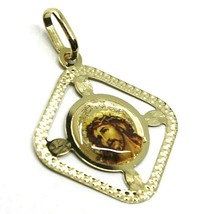 Pendant Medal, Yellow Gold 750 18K, Face of Christ, Rhombus, Frame, Enamel - $141.16