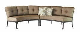Patio Curved Sofa Elisabeth 2 Pc Club Swivel Rockers end tables Desert Bronze image 2