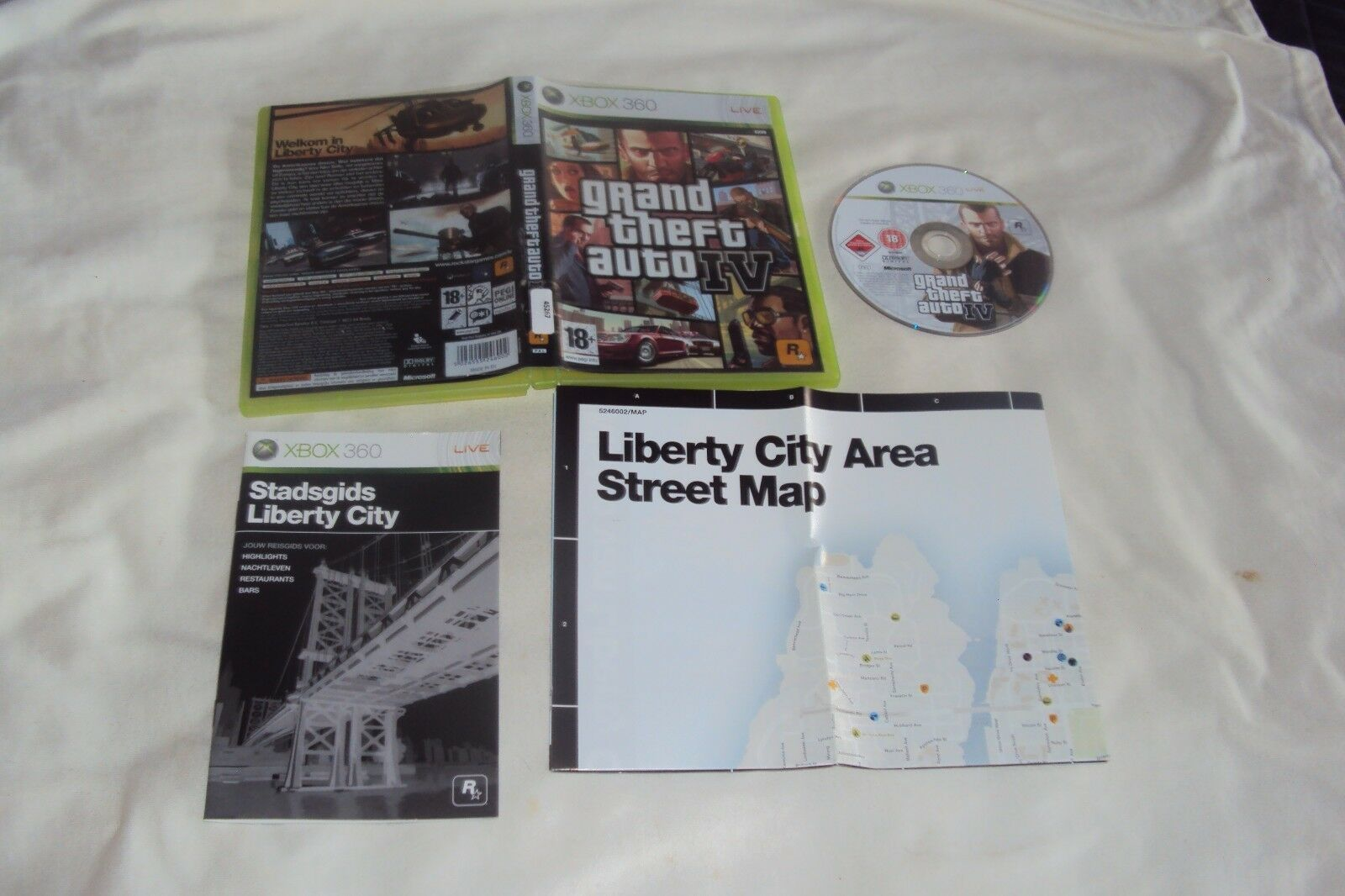 Primary image for GRAND THEFT AUTO IV Xbox 360 PAL REGION Disc Manual Map Art And Case VG To Good