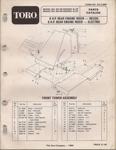 Toro 8HP Rear Engine Rider Elect Recoil Parts Catalog 56138 & 56145 6000... - $9.99