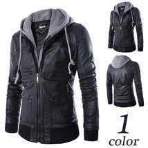 Fashion Jacket Men Hoody with Hat 2018 New Casual Slim Leather Motorcycl... - $48.96