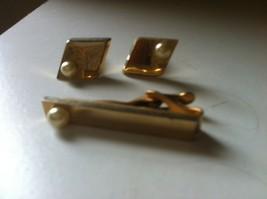 Vintage Cufflinks and Matching Tie Tac Goldtone with Pearls - $10.00