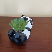 """Panda Animal Planter with Faux Succulent, Cement Pot and Artificial Plant, 4"""" image 2"""