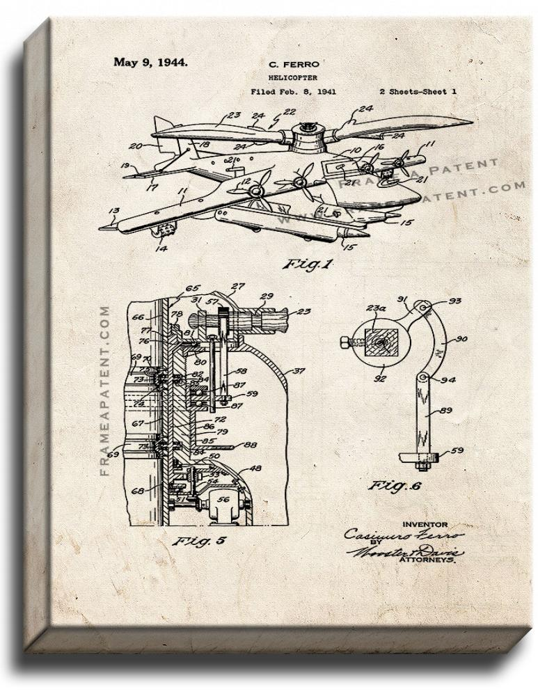 Primary image for Helicopter Patent Print Old Look on Canvas