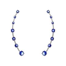 Sapphire Blue 5A CZ Adjustable Pin Crawler Sterling Silver Earrings-925-Vermeil - $44.55