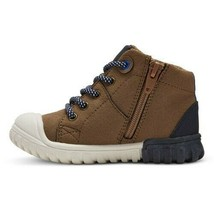 Cat & Jack Toddler Boys' Mitch Brown Leather High Top Hiking Boots Shoes NEW image 2