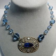 Antique Vintage Art Deco Czech Czechoslovakia Blue Faceted Glass Stone N... - $75.24