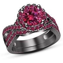 Round Pink Sapphire Womens Bridal Ring Set Black Gold Finish 925 Sterlin... - $103.72