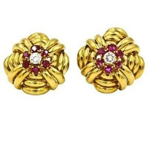Vintage Tiffany & Co Diamond Ruby Large Stud Earrings in 18k Yellow Gold - $7,915.05