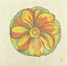 """Vintage 1970's Hand Painted Needlepoint Canvas """"Hypnotizing Flower Power""""  - $33.30"""