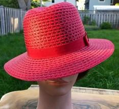 Straw Sun Hat Women's Size 7 Red Boater Beach Cap Summer Grosgrain Ribbo... - $36.01