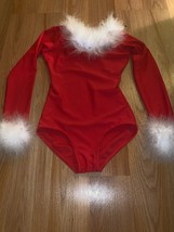 Size IC Intermediate Child Theatricals Red White Boa Trim Holiday Leotar... - $22.00