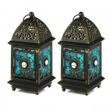 2 Wedding Small Lantern Blue Distressed Candle Holder Centerpieces - $21.66