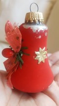 Vintage Red Bell Design  Blown Glass Christmas Ornament West Germany pre... - $14.30