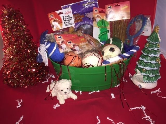 Christmas DOG Gift Basket DOG Toys RAWHIDE TREATS