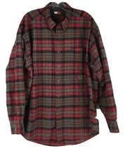 Tommy Hilfiger Men's Green & Red Plaid Longsleeve Button Front Shirt Sz XL  - $9.94