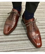 Brown Oxford Superior Leather Vintage Lace Up Handcrafted Men Party Wear... - $139.90+