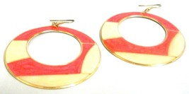 CORAL PINK WHOOPTY HOOP Earrings - Drop Long Dangling Hook - Classy Fash... - $5.95