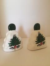 Ceramic Bell Christmas Tree Matching Pair Vintage Tabletop Decor - $8.86