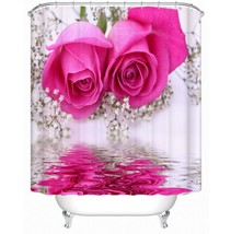 Waterproof Polyester Pink Shower Curtain Fabric Custom Bathroom Curtains With Ho - $41.27
