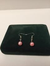 Pink pearl dangle earrings - $5.00