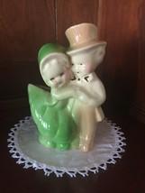 Vintage Ceramic Planter Figurine of Romantic Victorian Couple - $6.49