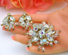 Dazzling Vintage Crystal Rhinestone Brooch & Earrings Dangle Cha-Cha Beads - $125.00