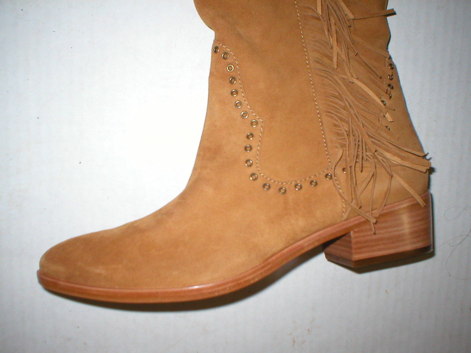 New $578 Womens 9.5 Frye Suede Leather Boots OTK Tall Knee Fringe Ray Camel Tan image 5