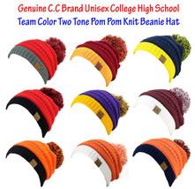 NEW! CC Beanie Unisex College High School Team Color 2-Tone Pom Pom Knit... - $13.99