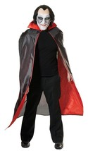 Halloween Fancy Dress Adult Dracula Cape Black With Red Lining - $7.65