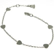 Bracelet or Blanc 18k 750, Cœurs Assiettes, Cœur, Longueur 14-16 cm, Italie - $200.65