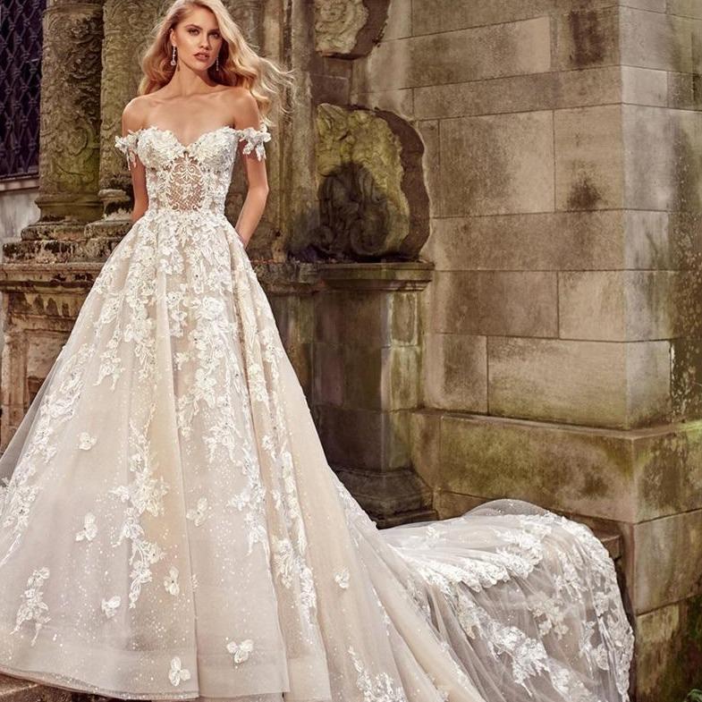 Rt a line lace wedding dresses applique off shoulder backless bride dress cathedral train bridal