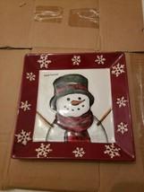 "St Nicholas Square YULETIDE  Snowman Plate Platter  8.5"" Holiday Christm... - $14.85"