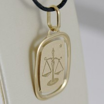 SOLID 18K YELLOW GOLD LIBRA ZODIAC SIGN MEDAL PENDANT, ZODIACAL, MADE IN ITALY image 1