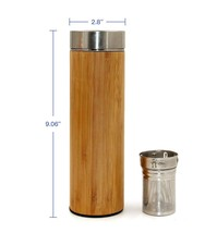 Portable Stainless steel bamboo thermos tumbler with tea infuser & strai... - £19.39 GBP