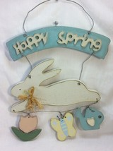 """Vintage Easter Wall Decoration Made of Wood and Wire """" Happy Spring """". - $8.50"""