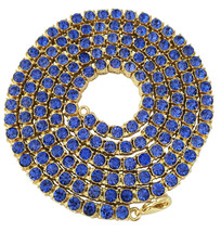 """Iced Out Hip Hop 14K Gold GP 1 Single Row Chain 30"""" Blue Sapphire CZ Necklace - $15.88"""