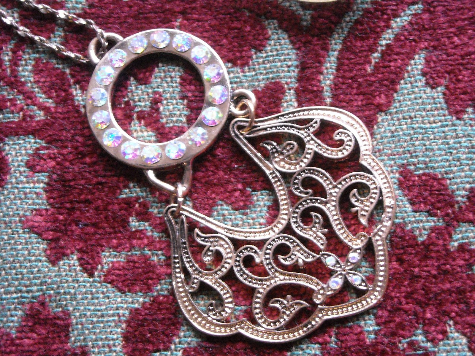 Necklace Gold Tone Filigree Metal & Aurora Borealis Rhinestones Gold Tone Chain image 5