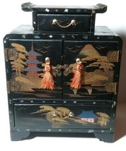 VINTAGE ANTIQUE MOTHER OF PEARL INLAY 5 DRAWER JAPANESE ESTATE JEWELRY BOX - $75.00