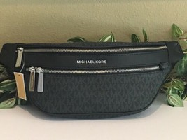 MICHAEL KORS KENLY MEDIUM WAIST FANNY PACK BLACK MK SIGNATURE BELT BAG $298 - $98.99