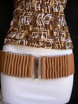 Fun Women Belt Hip High Wiast Elastic Beige Cream Color Fabric Silver Buckel S M - $9.79