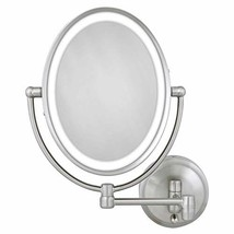 Zadro 10X/1X Next Generation LED Lighted Oval Wall Mount Mirror, Satin N... - $126.99