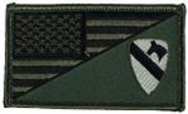 Army 1ST Cavalry Od Green Flag 2 X 3 Embroidered Patch With Hook Loop - $18.04