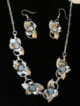 Vintage silver tone sky blue rhinestone leaf flower earring and necklace set   - $35.00