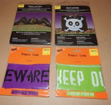 "Halloween Fright Tape 2ea & Spider & Skull Leaf Bags 2ea 45"" x 48"" 133W - $7.49"